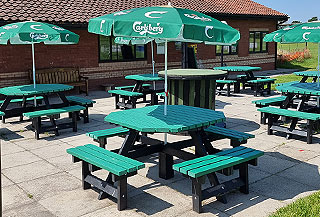clubhouse patio picnic tables